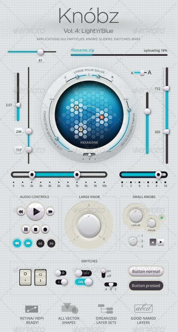 Edit Knóbz Vol.4: Light'n'Blue - User Interfaces Web Elements