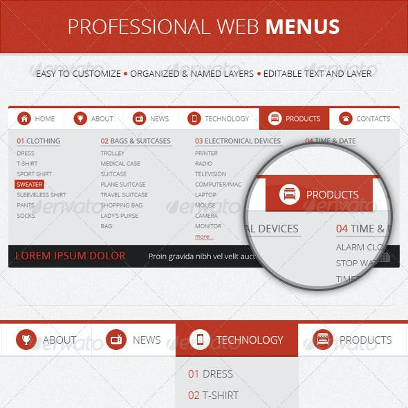 Professional Web Menu