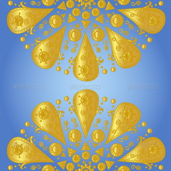 Blue Background with Ornamental Lace  - Backgrounds Decorative