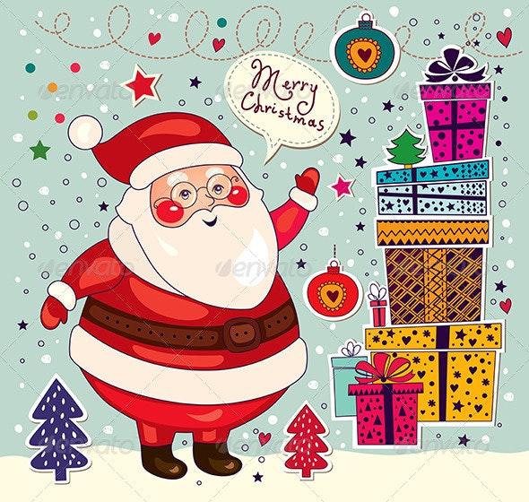 Christmas Card with Santa Claus - Christmas Seasons/Holidays