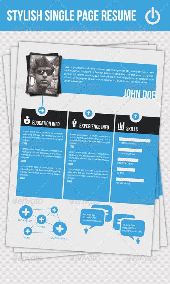 Stylish Single Page Resume - Resumes Stationery