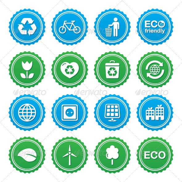 Eco Green Labels Set - Retro Technology