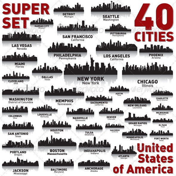 Incredible City Skyline Set - United States - Buildings Objects