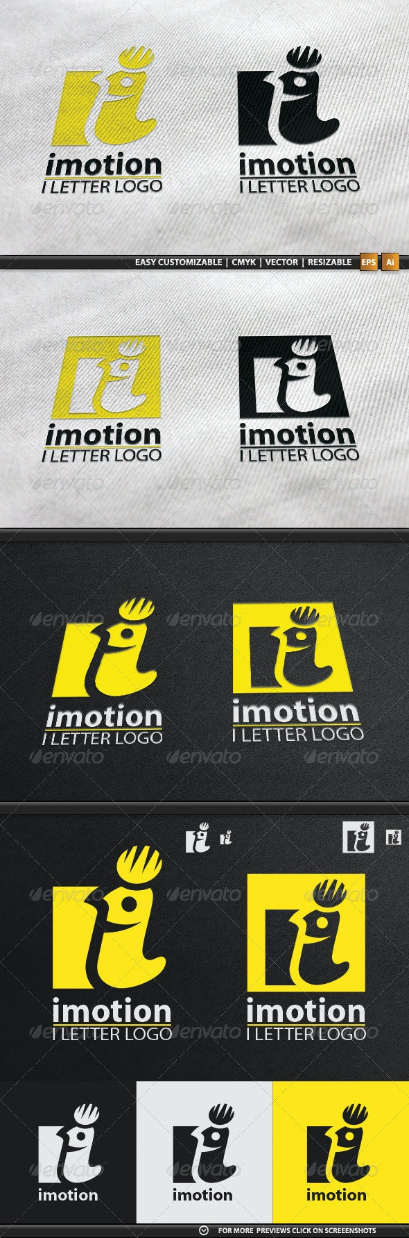 I Letter Aka Imotion Logo Template - Letters Logo Templates
