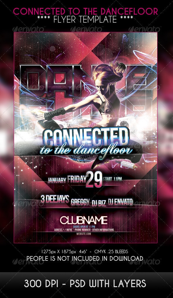 Connected to the dancefloor Party Flyer - Clubs & Parties Events