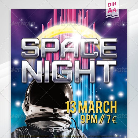 Space Night Flyer A4