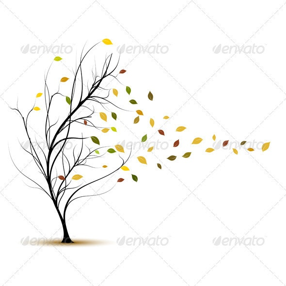 Fall Tree in Autumn With Wind Blowing - Vector - Seasons Nature