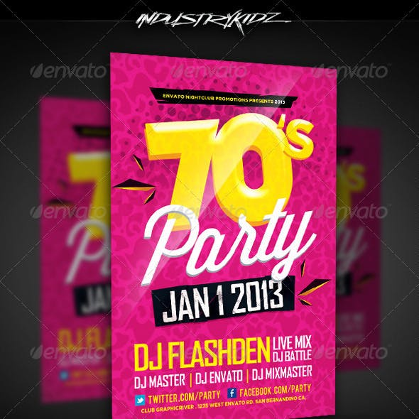 Retro Theme Party Flyer Template