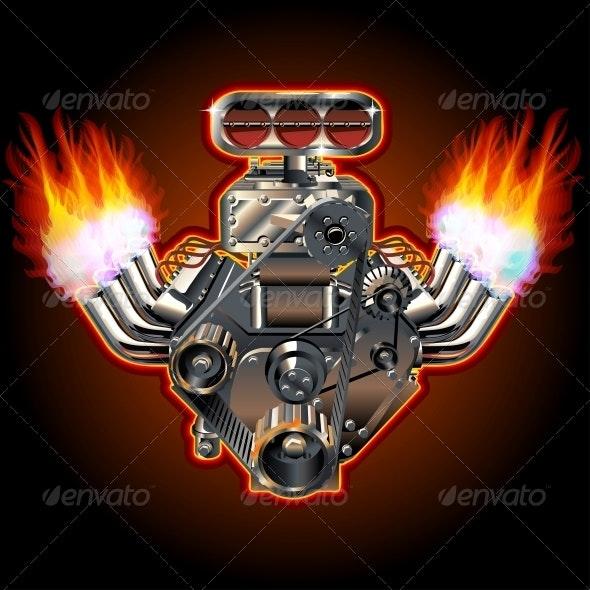 Vector Cartoon Turbo Engine - Man-made Objects Objects
