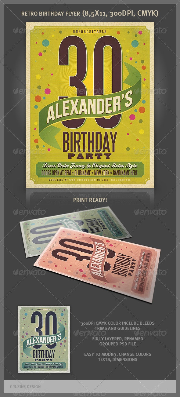 Retro Birthday Party Flyer - Clubs & Parties Events