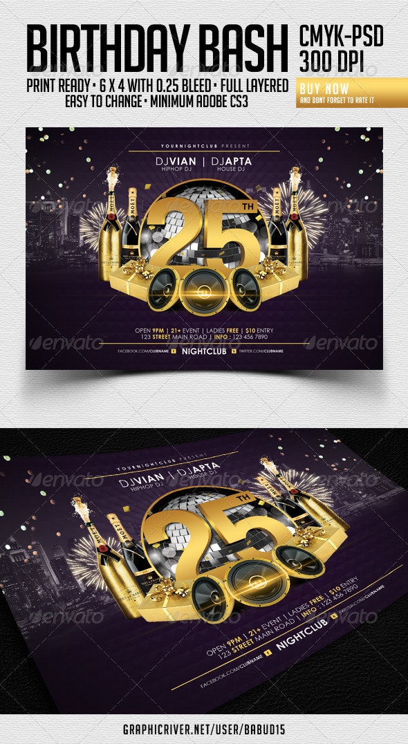Birthday Bash Flyer Template - Events Flyers