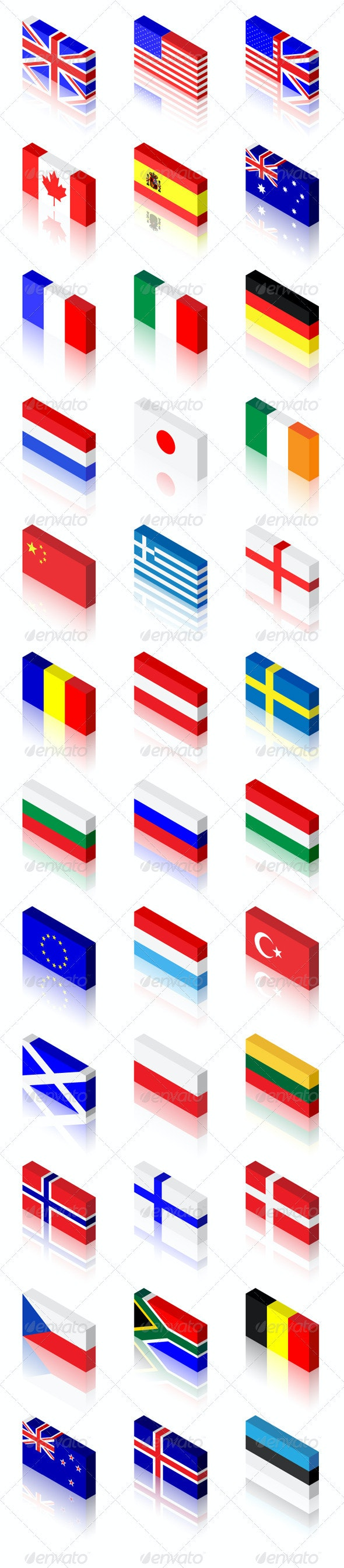 3D Flags Set - Man-made Objects Objects