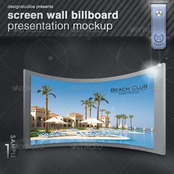 Screen Wall Billboard Presentation Mock-Up
