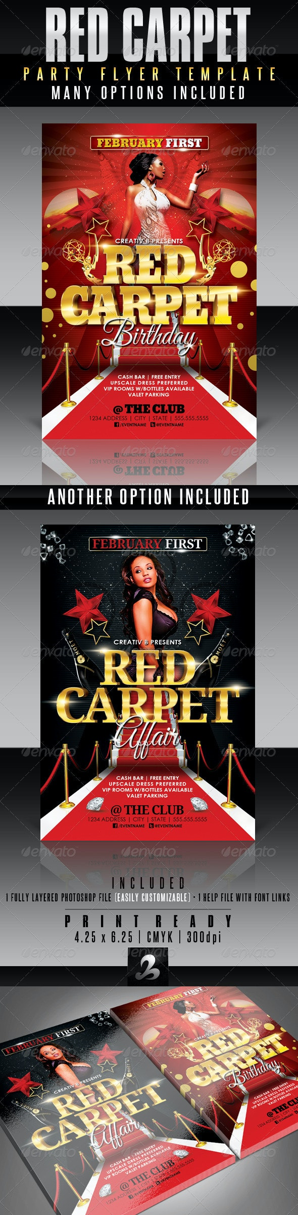 Red Carpet Party Flyer Template - Clubs & Parties Events