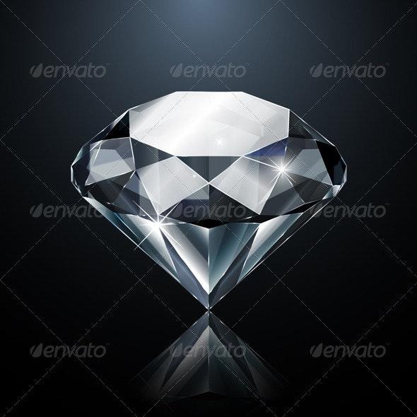 Dazzling Diamond on Black - Man-made Objects Objects