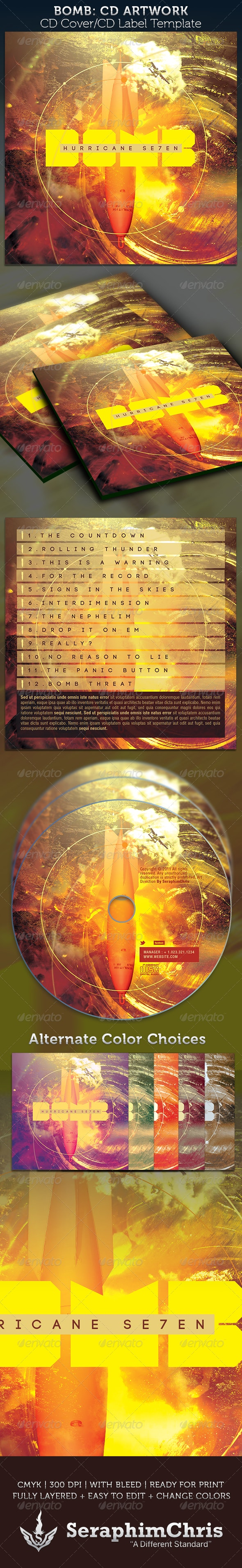 Bomb CD Cover Artwork Template - CD & DVD Artwork Print Templates