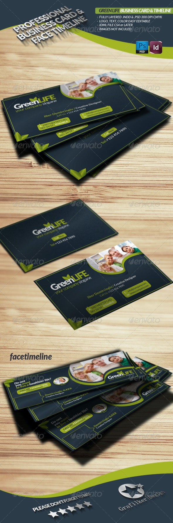 Green Life Business Card & Face-Timeline - Creative Business Cards