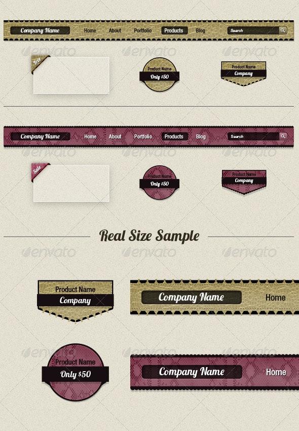 Leather Navigation Bars & Badges - Navigation Bars Web Elements
