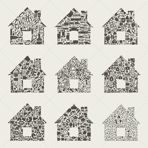 Collection of Houses Made of Icons - Buildings Objects