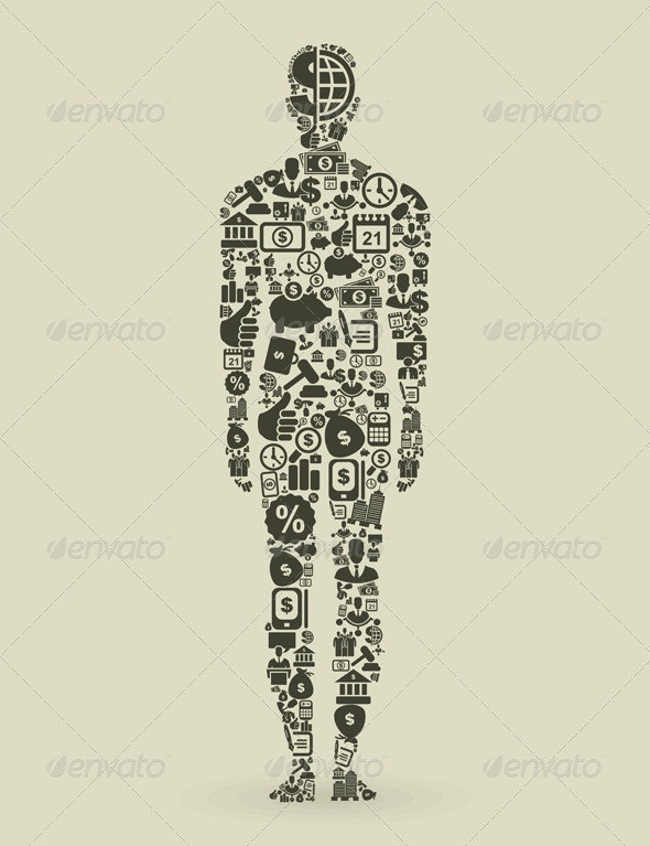 Person Made of Business Elements - People Characters