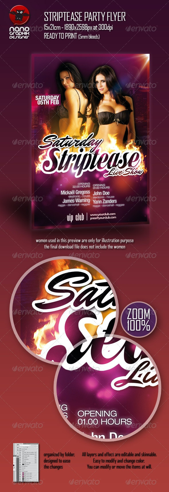 Striptease Party Flyer - Clubs & Parties Events