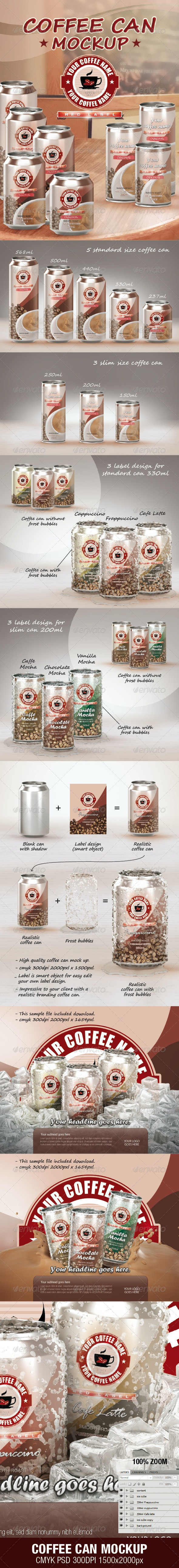 Coffee Can Mockup - Food and Drink Packaging