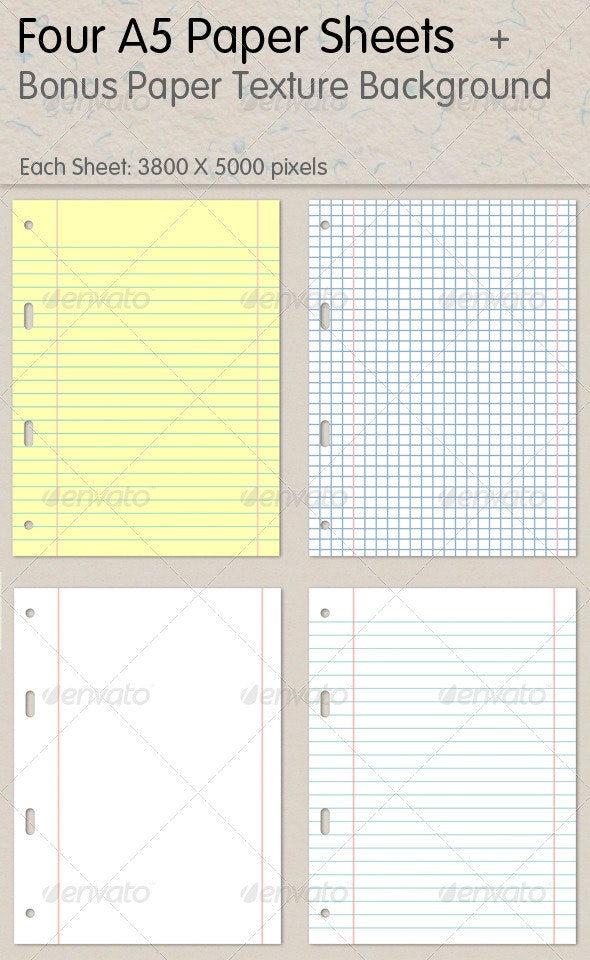 A5 Paper Sheets - Backgrounds Graphics
