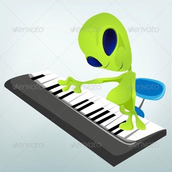Cartoon Character Alien - Pianist
