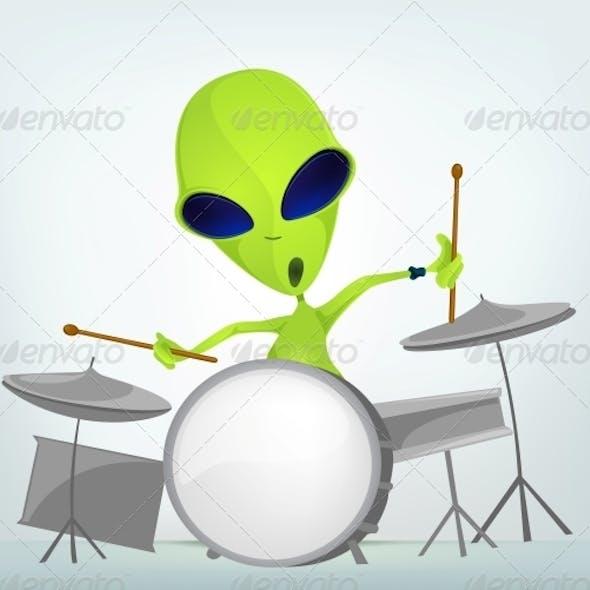 Cartoon Character Alien - Drummer