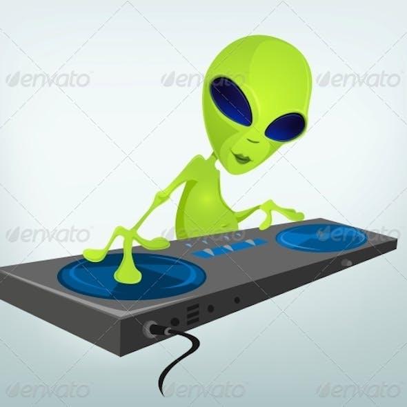 Cartoon Character Alien - DJ
