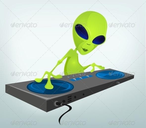 Cartoon Character Alien - DJ - Monsters Characters