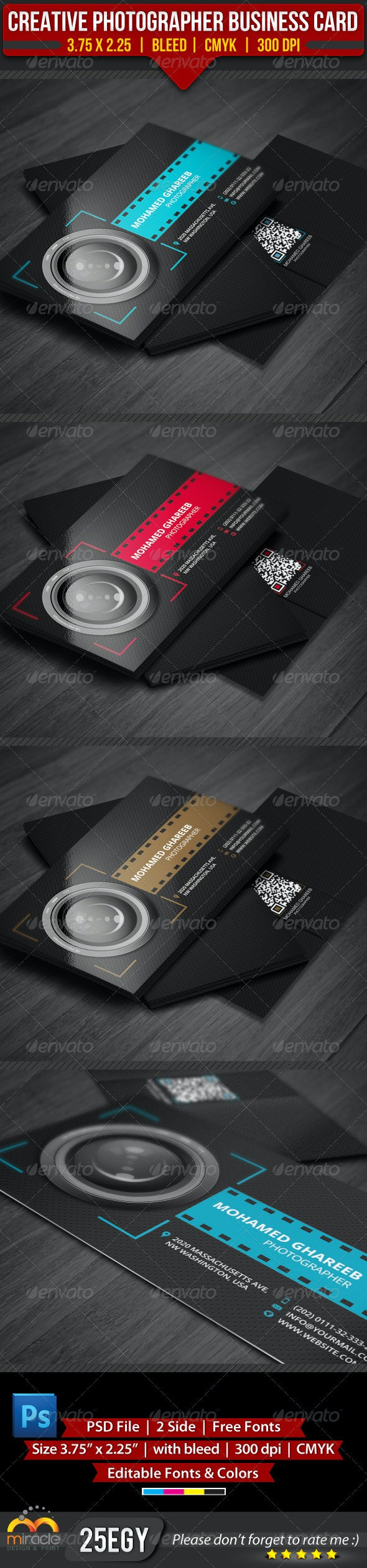 Creative Photographer Business Card - Industry Specific Business Cards