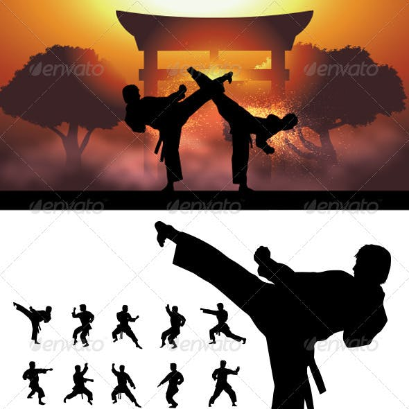 Taekwondo and Karate  Silhouettes