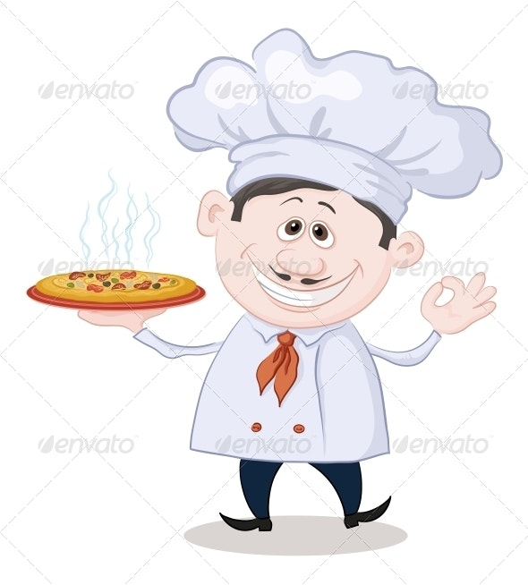 Cook Holds a Hot Pizza - People Characters