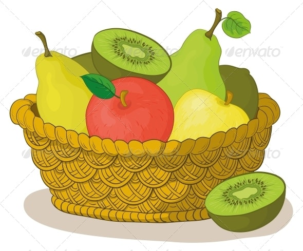 Basket with Fruits - Food Objects