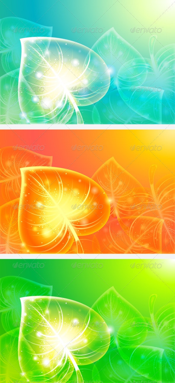 Abstract Leaves on Colourful Backgrounds - Backgrounds Decorative
