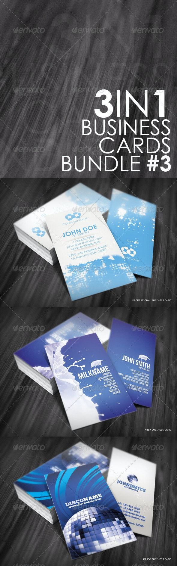 3in1 Business Cards Bundle #3 - Creative Business Cards