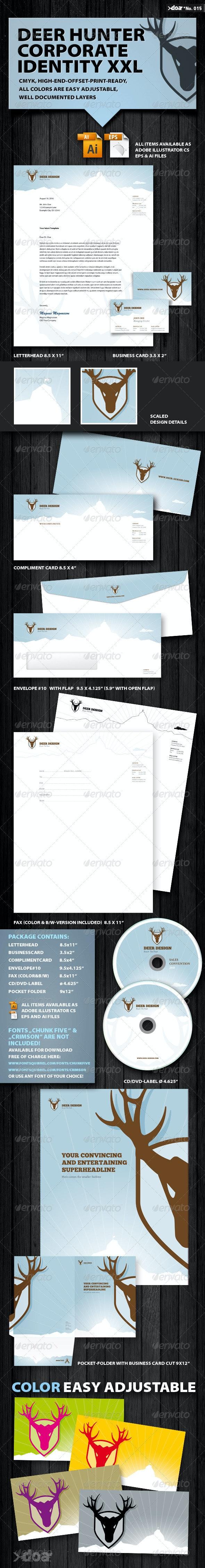 DEER HUNTER Corporate Identity XXL - Stationery Print Templates
