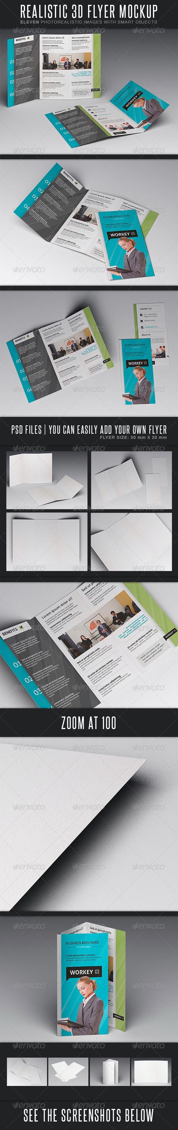 Realistic Flyer MockUp - Brochures Print