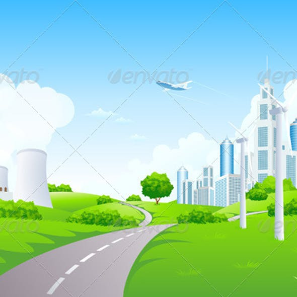 Green Landscape with City Windmills and Power Plant