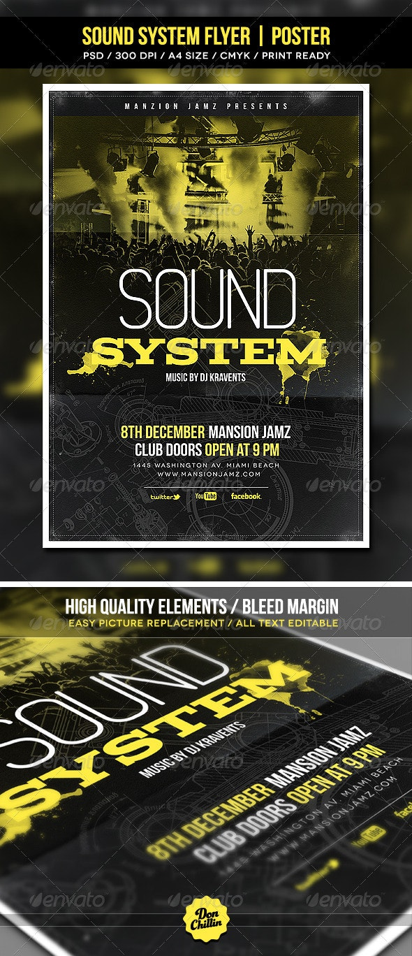 Sound System Flyer   Poster  - Events Flyers