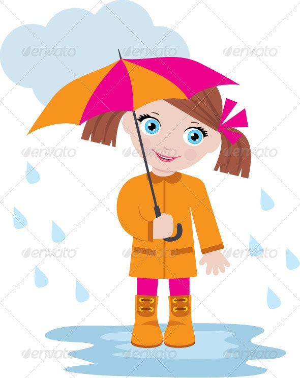 Little Girl Under an Umbrella - People Characters