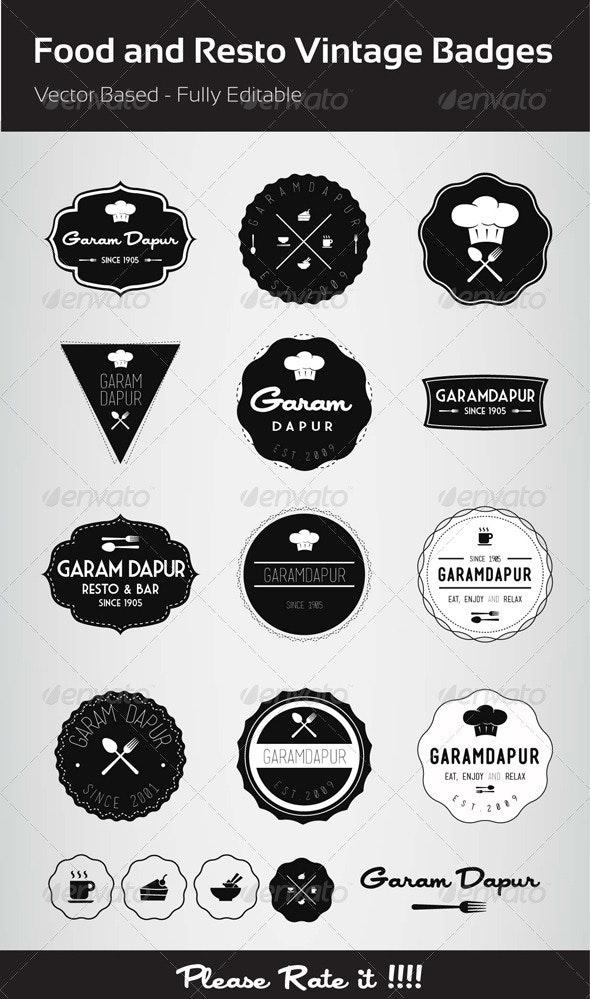 Food and Resto Vintage Badges - Badges & Stickers Web Elements