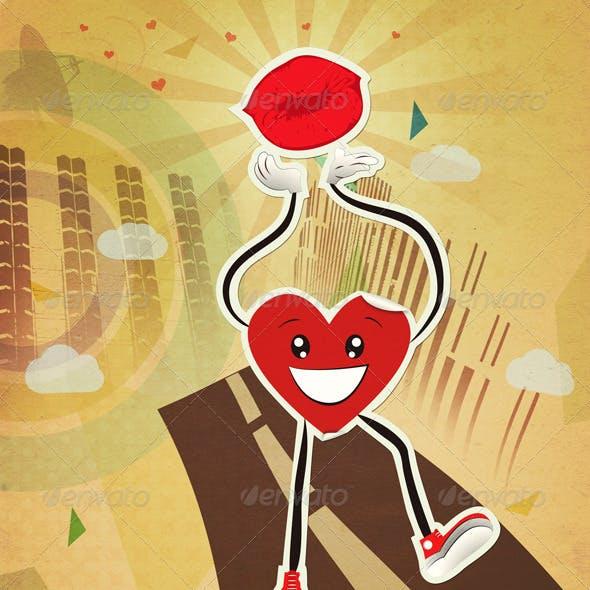 Walking Heart Sticker