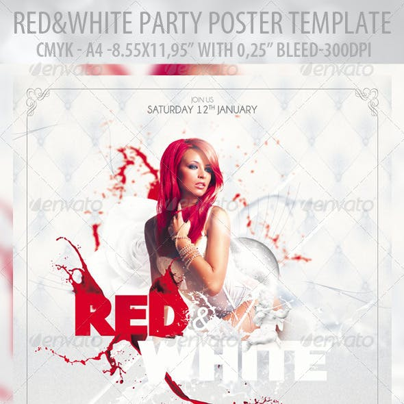 Red & White - Poster Template & Red & White - Flye