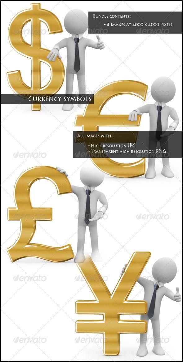 Currency Symbols Bundle - Characters 3D Renders