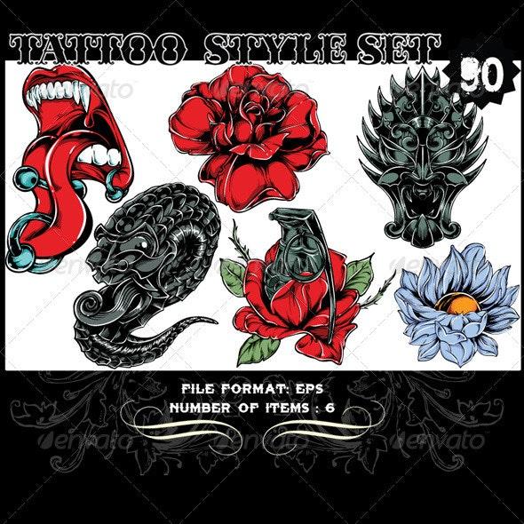 Tattoo Style Vector Set 90 - Tattoos Vectors