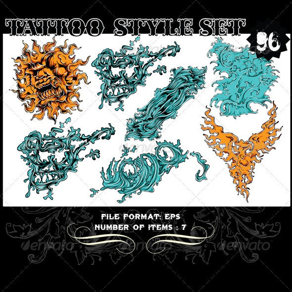 Tattoo Style Vector Set 96 - Tattoos Vectors