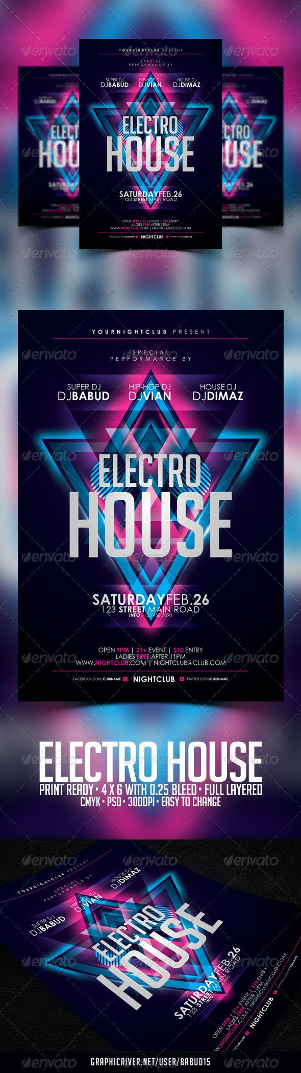 Electro House Flyer Template - Clubs & Parties Events