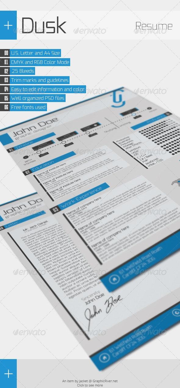 Dusk Resume - Resumes Stationery